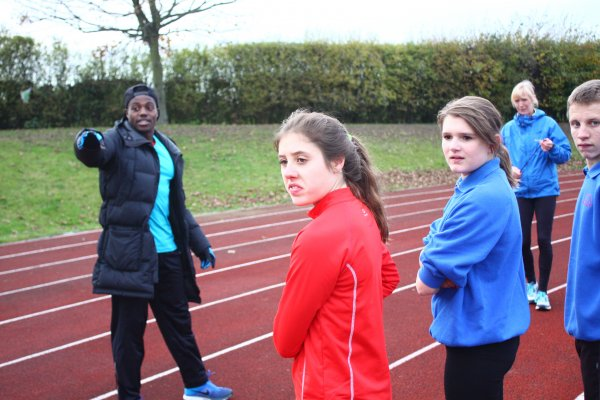 Belvoir high students on the running track