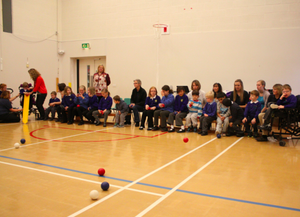 The students at Biirch wood having a go at boccia