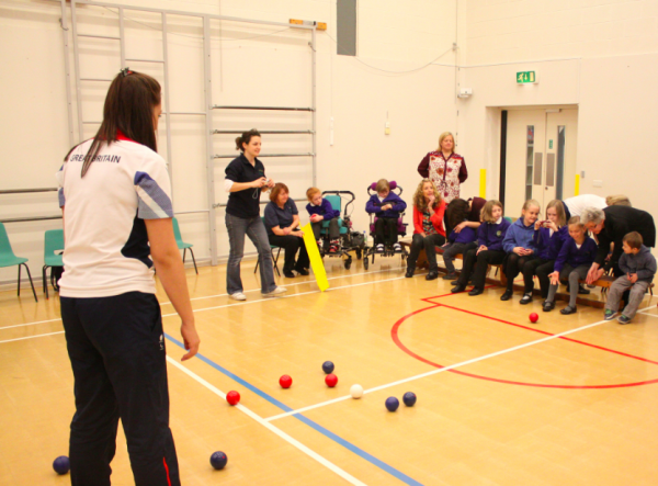 Boccia being played